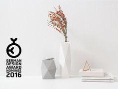 2 x vase géométrique faites de carton SNUG. VASE haut / bas et blanc / gris