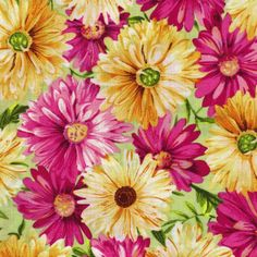 Large Floral-Pink and Yellow Daisy Quilting Fabric,100% Cotton By the Yard in Crafts | eBay