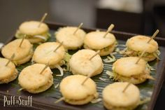 Arepas | Small conmeal cakes stuffed with spicy chicken, shredded iceberg, and a drizzle of creamy avocado sauce | Puff 'n Stuff Catering | Orlando + Tampa, FL