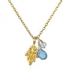 Blue Topaz Hamsa Charm Necklace | Satya Jewelry