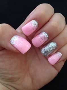Pink and Silver waterfall Gel nails - only I would use gold glitter! Pink Gel Nails, Gel Polish Manicure, Pink Manicure, Glitter Gel Nails, Gel Nail Colors, Gel Nail Art, Silver Nails, Pink Glitter, Nail Designs Tumblr
