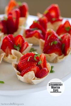 No time? Whip up these quick strawberry wonton cups for a fun and fruity summer dessert.