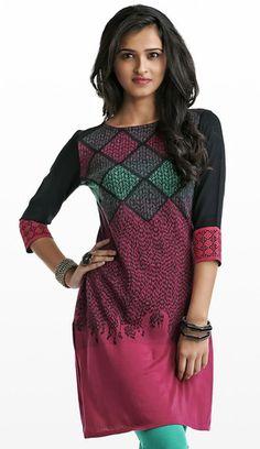 Jacquard Knit Kurti with Embroidery   Naari