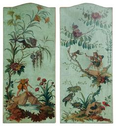 ANTIQUE ITALIAN OIL ON CANVAS CHINOISERIE DESIGN PANELS