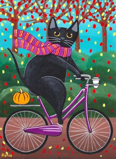 Autumn Fat Black Cat on a Bicycle Original Folk Art Painting by KilkennycatArt (Ryan Conners)
