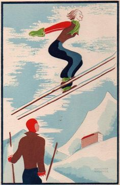 Skiers by Edouard Halouze - Vintage Art Deco Posters Gallery at I Desire Vintage Posters