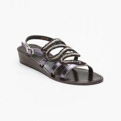 Sandalias de cuña, cuero negro Cuña: 3,5 cm