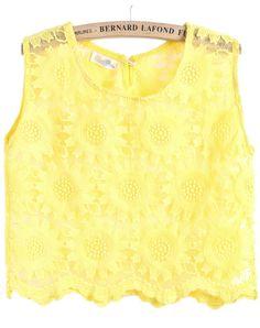 Yellow Sleeveless Floral Crochet Organza Vest US$16.17