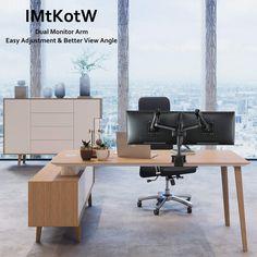 Amazon.com: IMtKotW Dual Arm Monitor Desk Mount Stand,Height Adjustable  Full Motion