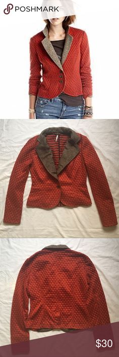 Free People Orange Polka Dot Blazer A knit Free People blazer with structured, contrast tweed lapels. Princess seams tailor the silhouette. Double-buttons placket and vented hem. Tweed-lined cuffs. Long sleeves. Unlined.  Rust orange color with black accents and brown tweed  Machine washable   Slight piling to fabric but otherwise blazer is in good condition  *Color may vary slightly from photos*  Materials: 82% Polyester/ 18% Cotton Free People Jackets & Coats Blazers