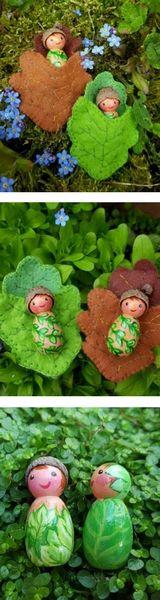 LittlePeepsCreations - Waldorf pegdoll baby Forest Elf in Leaf Sleeping Bag, wooden toy #ad