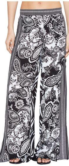 La Blanca Sevilla Scarf Lounge Pant Cover-Up (Black/White) Women's Swimwear - La Blanca, Sevilla Scarf Lounge Pant Cover-Up, LA7AT41-BWH, Apparel Bottom Swimwear, Swimwear, Bottom, Apparel, Clothes Clothing, Gift - Outfit Ideas And Street Style 2017