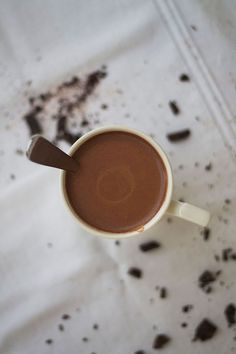 Rich, thick and creamy coconut milk hot chocolate. Something to keep you warm and satisfy your sweet tooth without the guilt.