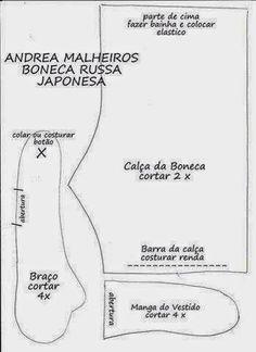 FELTRO MOLDES ARTESANATO EM GERAL: BONECA COM MOLDE