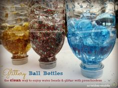 "Glittery Ball Bottles - water beads, tinsel glitter & water ("",)"