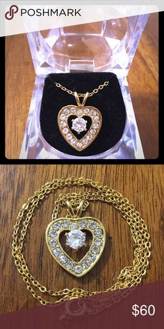 Real Gold ❤️ Necklace Brand New Never Worn Gold Necklace With ❤️ Pendant. Cubic Zirconia Jewelry Necklaces