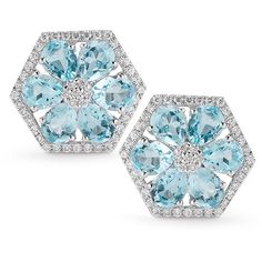 Blue Topaz Hexagon Earrings in White Gold | Dana Rebecca Designs (6.245 BRL) ❤ liked on Polyvore featuring jewelry, earrings, flowers, orecchini, white gold earrings, blue topaz stud earrings, studded jewelry, blue topaz jewelry and flower earrings