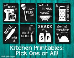 Kitchen Decor. Kitchen Utensil Art. Kitchen Wall Art. Funny Kitchen Chalkboard Signs. Whip it Good. Just Beat It. Roll With It. Kitchen Art....