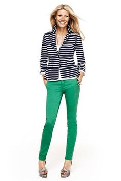 I wore this exact outfit the other day, but for less- green skinny jeans from Gap, blue and white blazer from Express, Nordstrom BP heels