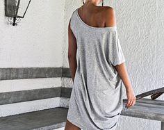 Luce Grigio Melange camicia asimmetrica tunica / Plus Size Abito / asimmetrica Plus Size abito - camicia - tunica / Oversize vestito color tortora / #35038