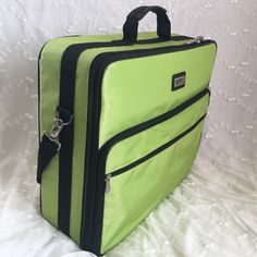 """Tutto - Lime Green Embroidery Bag. Gorgeous and functional embroidery bag! Great way to stay organized and move from project to project. Perfect for the busy person that has so much to carry. Measurements:19"""" H x 17"""" W x 6"""" D. 