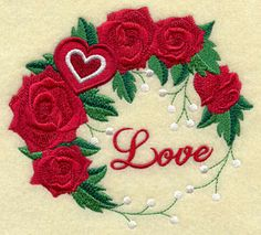 Machine Embroidery Designs at Embroidery Library! - Free Machine Embroidery Designs - Love and Roses Wreath