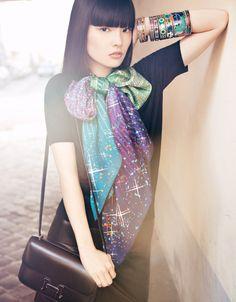 Gorgeous Asian girl sporting Hermes silk scarves. J'aime mon carre!