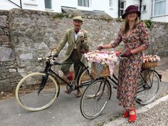 Tim and Gill looking forward to a spiffing day out. Velo Vintage @velo_vintage Exmouth 2014