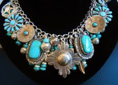 Turquoise Petit Point Wedding Basket Bench Beads Native american Charm Bracelet