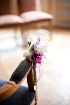 Chair flowers in Mauve & Lilac