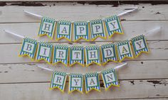 Happy Birthday Banner Boy Polka Dots and by CardsandMoorebyTerri, $40.00