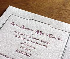 southbeach letterpress wedding invitation by invitations by ajalon