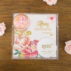 Small Personalized Square Acrylic Tray - Modern Floral Foil Print - Shop on WeddingWire! Floral Print Design, Floral Prints, Wedding Table, Wedding Favors, Wedding Invitations, Youre Like Really Pretty, Glass Jewelry Box, Jewellery Box, Drinks Tray