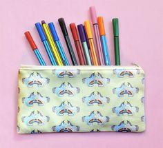 Items similar to Unicorn pencil pouch - unicorn gift - unicorn zip pouch - yellow pencil case - rainbow unicorn project case - unique unicorn print fabric on Etsy Unicorn Pencil Case, Unicorn Print, Pencil Pouch, Pencil Cases, Back To School Gifts, Unicorn Gifts, Rainbow Unicorn, Etsy Uk, Printing On Fabric