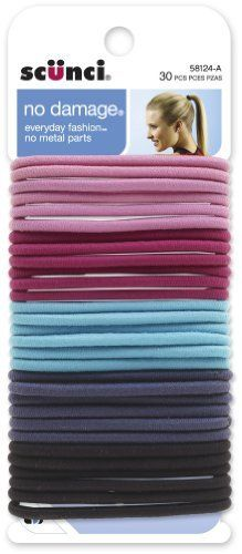 Scunci Effortless Beauty Large No-damage Pastel Elastics, 30-Count (Colors May Vary) by Scunci. $3.99. Soft metal free elastic for no-damage hold. 30 pack ensures you always have one on hand. Easy to take with you for instant style change. Hold ponytails tight while working or playing. 4 pack includes Carribean brights and basic shades. 30PK 4MM ND ELASTICS-PASTEL