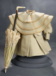 """""""What Finespun Threads"""" - Antique Doll Costumes, 1840-1925 - March 12, 2017: 300 Green Cashmere Woolen Jacket and Green Silk Parasol"""