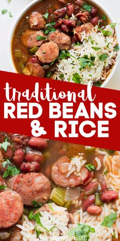Red Beans and Rice- Red Beans and Rice. This classic recipe is so easy to make! Bold and flavorful, this comforting meal is sure to fill you up with tender beans and spicy sausage. Red Beans And Rice Recipe Easy, Easy Rice Recipes, Bean Recipes, Pork Recipes, Cooking Recipes, Healthy Recipes, Recipes With Red Beans, Red Beans And Rice Recipe New Orleans, Recipes With Andouille Sausage