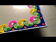 Corner rangoli designs with flowers and with colours by jyoti How to make easy and simple/unique border rangoli designs by Jyoti Rathod Easy Rangoli Designs Diwali, Rangoli Simple, Rangoli Designs Latest, Rangoli Designs Flower, Free Hand Rangoli Design, Rangoli Border Designs, Small Rangoli Design, Colorful Rangoli Designs, Rangoli Ideas