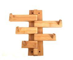Amazon.com: Mato Bamboo Wood Bathroom Wall Mount Towel Hanger Holder Bar Organizer: Home & Kitchen