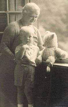 Prince Alexander of Hesse with his grandmother, Grand Duchess Eleonore, and friend.