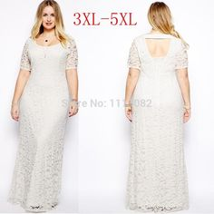 Women Lady Lace Oversize Short Sleeves Long Party Evening Gown Dress Plus Size Cheap Maxi Dresses, Casual Party Dresses, Backless Maxi Dresses, Lace Party Dresses, White Maxi Dresses, Lace Dress, Short Dresses, Gown Dress, Lace Maxi