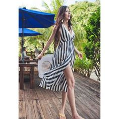 $8.53 Womens Sexy Chiffon Dress With Halterneck Split Front and Stripe Pattern Design