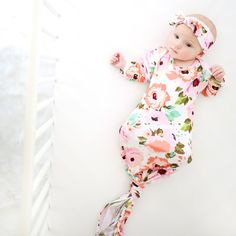 Baby girl knotted mermaid gown taupe floral gown baby gown coming home outfit baby shower gift pink gown going home set brand new