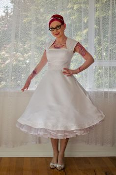1950s 'Veronica' White Wedding Dress with Guipere Lace trim - Custom Made to Fit Fit And Flare Wedding Dress, Wedding Dresses For Girls, Country Wedding Dresses, Wedding Dresses Plus Size, Wedding Dress Shopping, Colored Wedding Dresses, Elegant Wedding Dress, Designer Wedding Dresses, Wedding Gowns