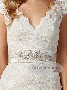 V Neckline Allover Lace Mermaid Wedding Gown with Jeweled Belt