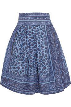 Preen Line Jennah pleated printed denim skirt   THE OUTNET