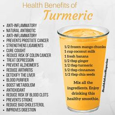 health cleanse Turmeric lattes and smoothies make a great anti-inflammatory drink. Check out all the other benefits. Healthy Fruit Smoothies, Fruit Smoothie Recipes, Healthy Juices, Healthy Fruits, Healthy Drinks, Detox Drinks, Smoothie Diet, Healthy Snacks, Smoothie Benefits