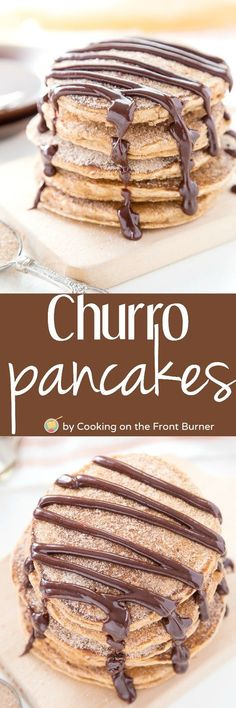 Start your Cinco de Mayo celebration with these Churro Pancakes topped with a Spicy Chocolate sauce! Ole!