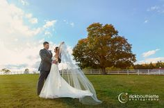 dramatic ♥ #rickbouthiettephotography #nhweddings Castle in the Clouds | Moultonborough, New Hampshire #elegantwedding #fallnhwedding #outdoorweddingphotos #nhweddingphotographer #romanticweddingphoto #cathedralveil #fairytalewedding