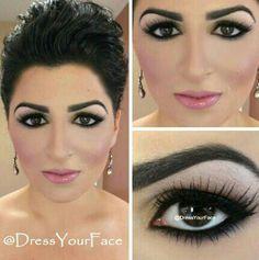 Bride make up - Exemple de ce que je n'aime pas! Trop rose et les yeux et sourcils sont beaucoup trop marqués (moi qui n'aime pas la forme de mes yeux, ce serait encore pire!)